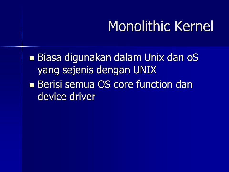 Monolithic Kernel Biasa digunakan dalam Unix dan oS yang sejenis dengan UNIX Biasa digunakan dalam Unix dan oS yang sejenis dengan UNIX Berisi semua O