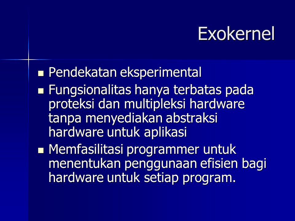 Exokernel Pendekatan eksperimental Pendekatan eksperimental Fungsionalitas hanya terbatas pada proteksi dan multipleksi hardware tanpa menyediakan abs