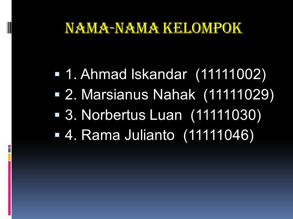 Nama-nama Kelompok  1. Ahmad Iskandar (11111002)  2. Marsianus Nahak (11111029)  3. Norbertus Luan (11111030)  4. Rama Julianto (11111046)