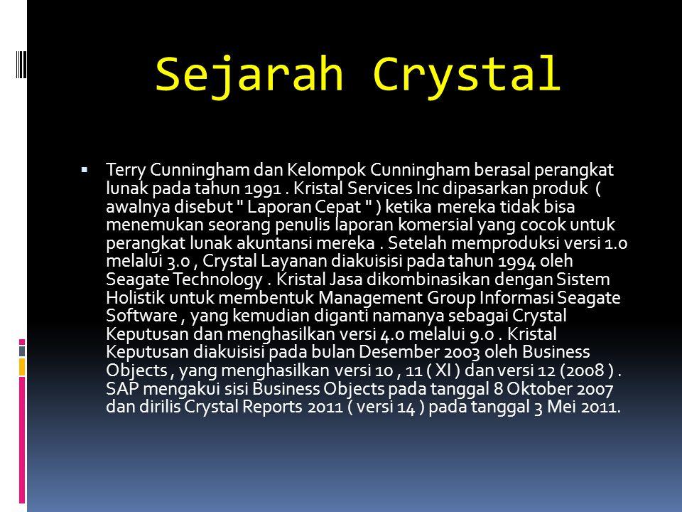 Sejarah Crystal  Terry Cunningham dan Kelompok Cunningham berasal perangkat lunak pada tahun 1991. Kristal Services Inc dipasarkan produk ( awalnya d
