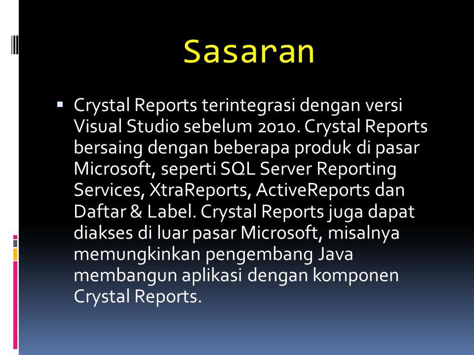 Sasaran  Crystal Reports terintegrasi dengan versi Visual Studio sebelum 2010. Crystal Reports bersaing dengan beberapa produk di pasar Microsoft, se