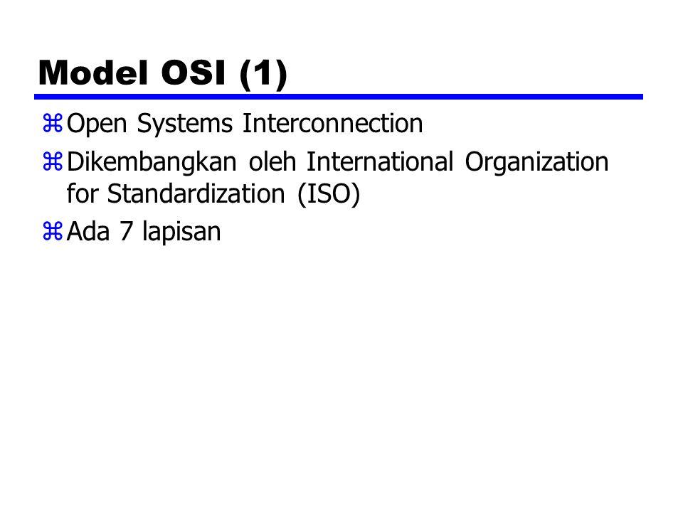 Model OSI (1) zOpen Systems Interconnection zDikembangkan oleh International Organization for Standardization (ISO) zAda 7 lapisan