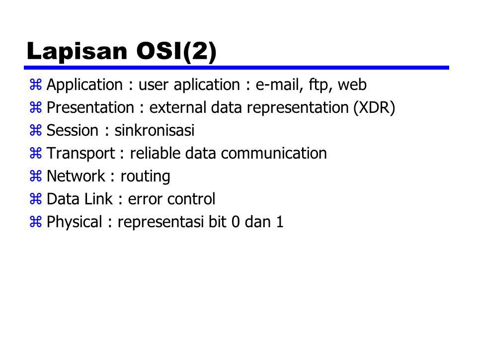Lapisan OSI(2) zApplication : user aplication : e-mail, ftp, web zPresentation : external data representation (XDR) zSession : sinkronisasi zTransport