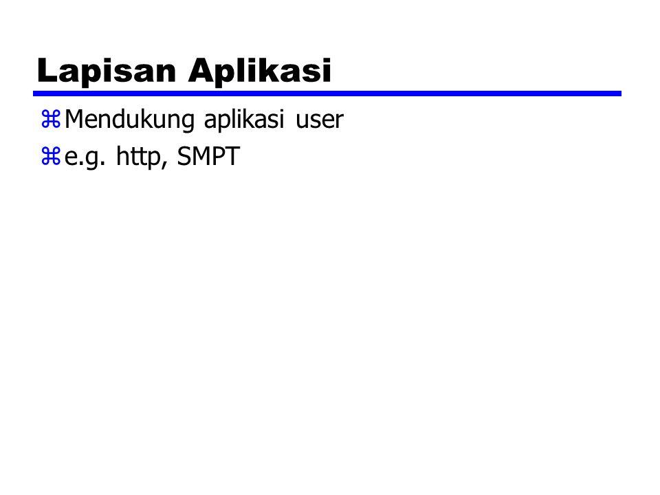 Lapisan Aplikasi zMendukung aplikasi user ze.g. http, SMPT