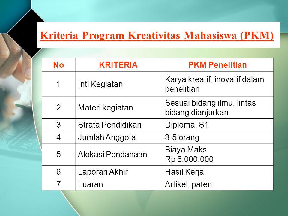Kriteria Program Kreativitas Mahasiswa (PKM) NoKRITERIAPKM Penelitian 1Inti Kegiatan Karya kreatif, inovatif dalam penelitian 2Materi kegiatan Sesuai