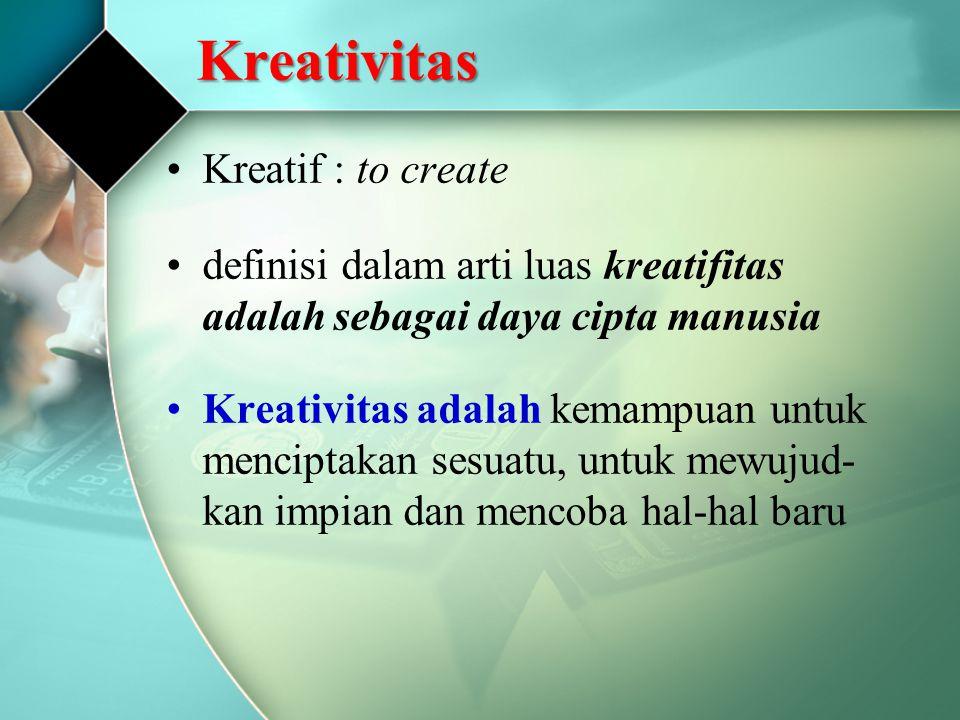 Kreativitas Kreatif : to create definisi dalam arti luas kreatifitas adalah sebagai daya cipta manusia Kreativitas adalah kemampuan untuk menciptakan sesuatu, untuk mewujud- kan impian dan mencoba hal-hal baru