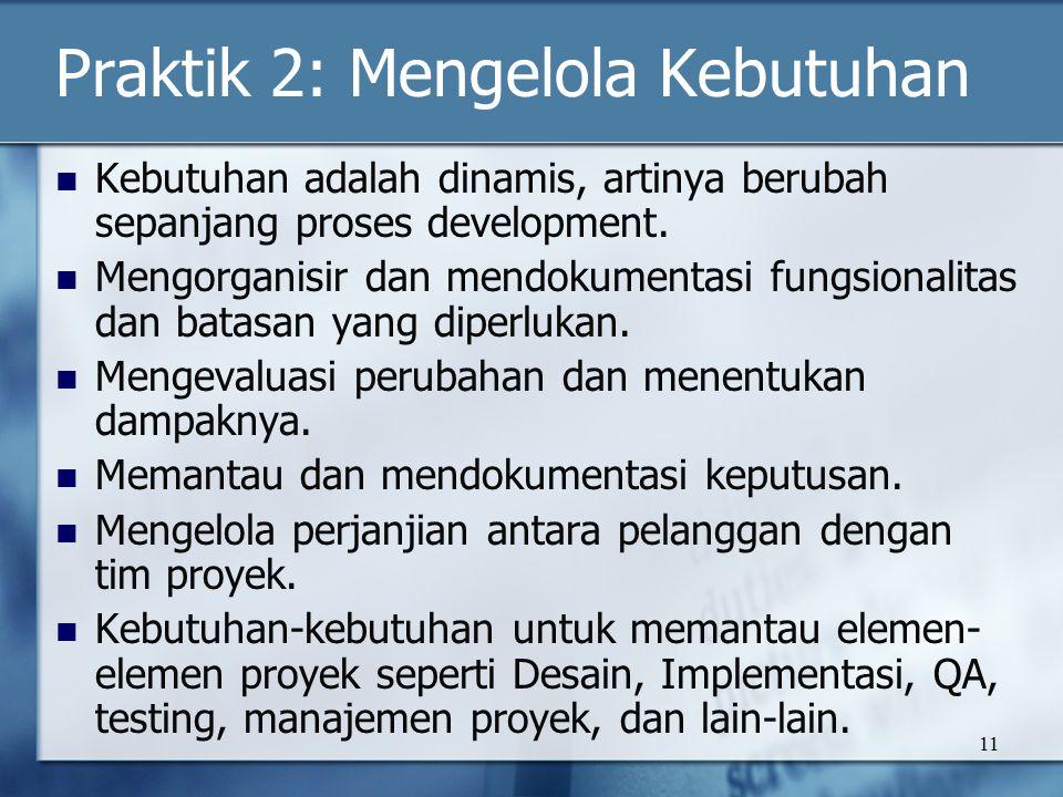11 Praktik 2: Mengelola Kebutuhan Kebutuhan adalah dinamis, artinya berubah sepanjang proses development.