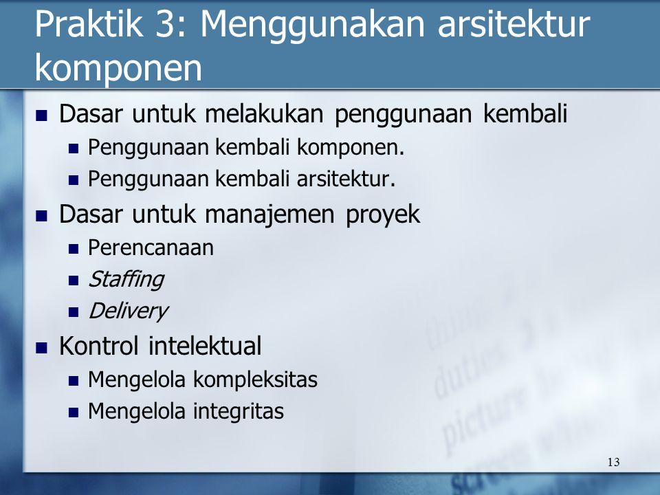13 Praktik 3: Menggunakan arsitektur komponen Dasar untuk melakukan penggunaan kembali Penggunaan kembali komponen.