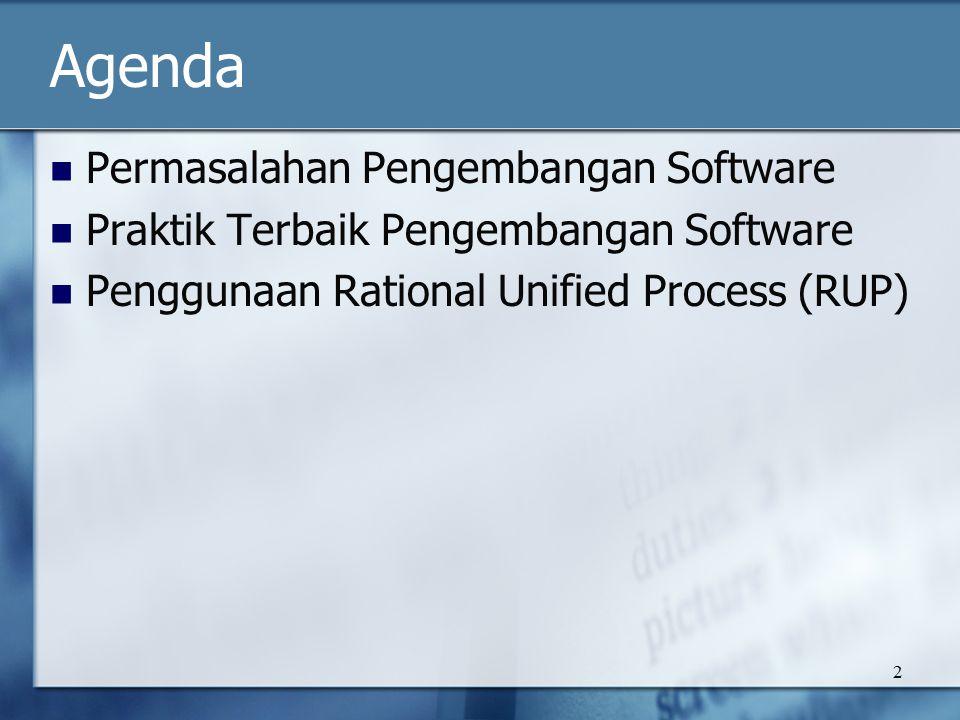 2 Agenda Permasalahan Pengembangan Software Praktik Terbaik Pengembangan Software Penggunaan Rational Unified Process (RUP)