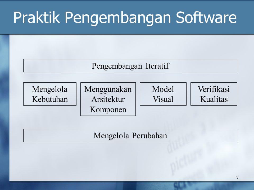 7 Praktik Pengembangan Software Pengembangan Iteratif Mengelola Perubahan Mengelola Kebutuhan Menggunakan Arsitektur Komponen Model Visual Verifikasi Kualitas