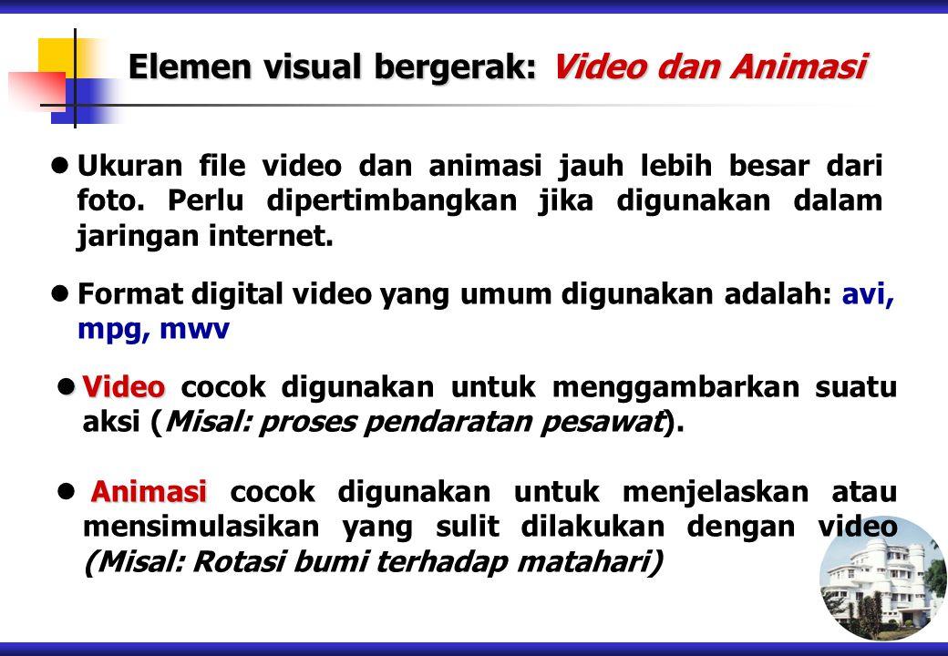 Elemen visual bergerak: Video dan Animasi Ukuran file video dan animasi jauh lebih besar dari foto. Perlu dipertimbangkan jika digunakan dalam jaringa