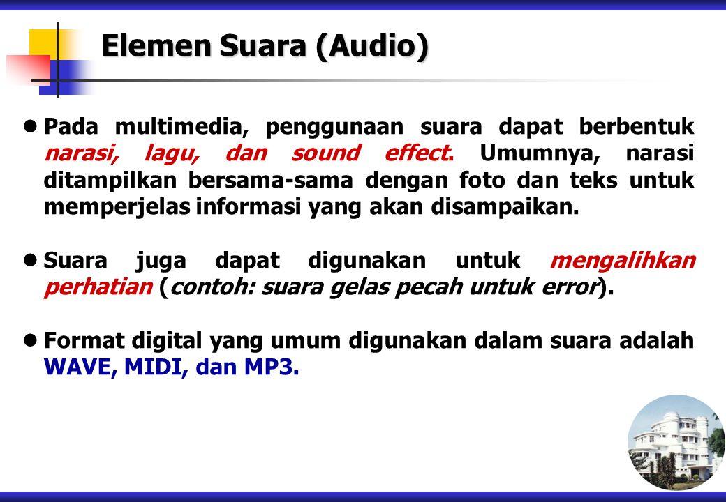 Pada multimedia, penggunaan suara dapat berbentuk narasi, lagu, dan sound effect. Umumnya, narasi ditampilkan bersama-sama dengan foto dan teks untuk
