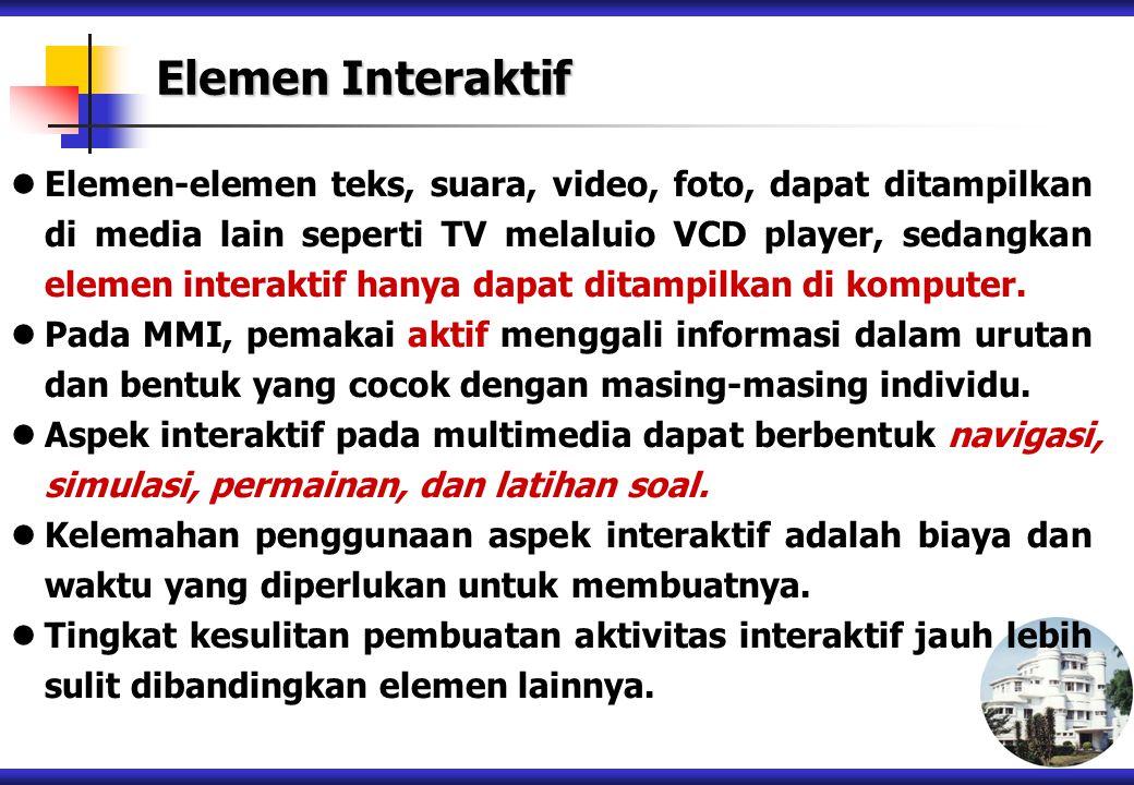 Elemen-elemen teks, suara, video, foto, dapat ditampilkan di media lain seperti TV melaluio VCD player, sedangkan elemen interaktif hanya dapat ditamp