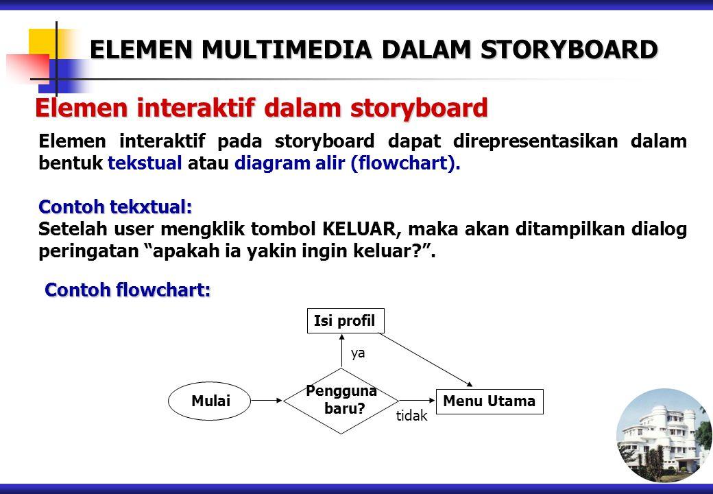 Elemen interaktif dalam storyboard Elemen interaktif pada storyboard dapat direpresentasikan dalam bentuk tekstual atau diagram alir (flowchart). Cont