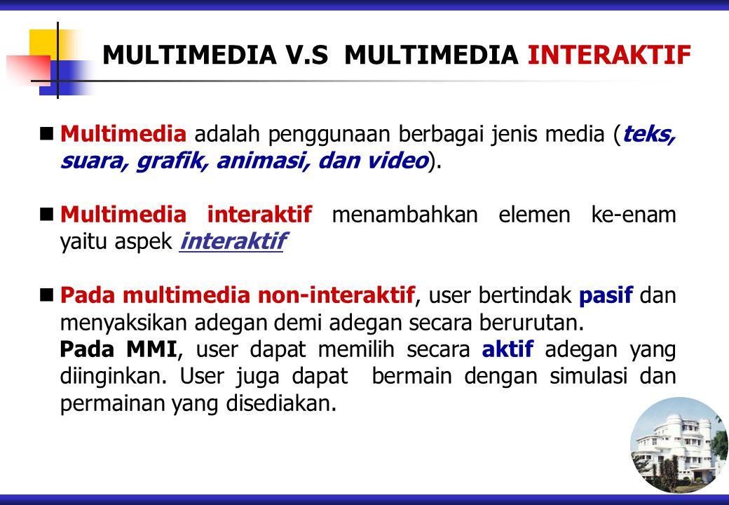 MULTIMEDIA V.S MULTIMEDIA INTERAKTIF Multimedia adalah penggunaan berbagai jenis media (teks, suara, grafik, animasi, dan video). Multimedia interakti