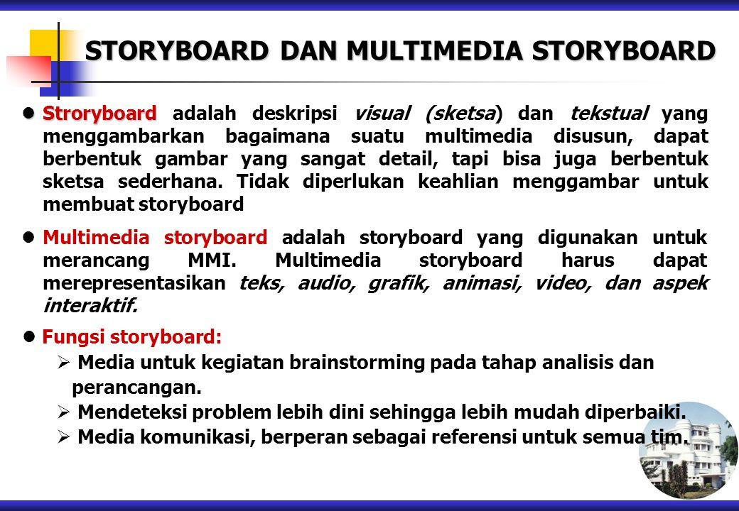 STORYBOARD DAN MULTIMEDIA STORYBOARD Stroryboard Stroryboard adalah deskripsi visual (sketsa) dan tekstual yang menggambarkan bagaimana suatu multimed