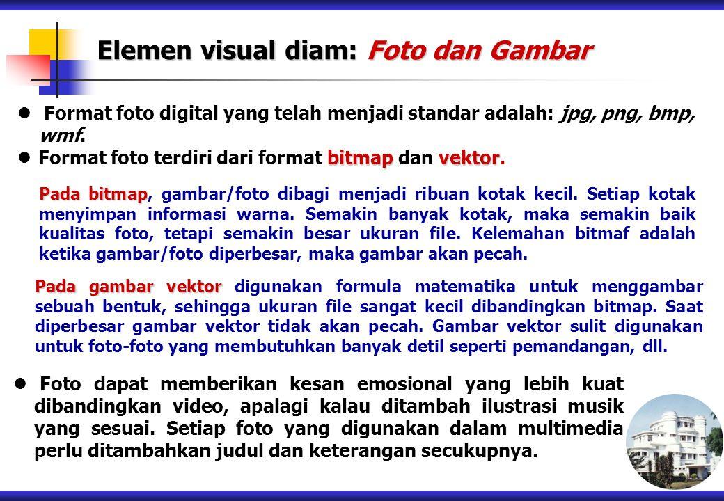 Format foto digital yang telah menjadi standar adalah: jpg, png, bmp, wmf. bitmap vektor Format foto terdiri dari format bitmap dan vektor. Pada bitma