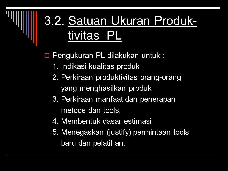 3.2. Satuan Ukuran Produk- tivitas PL PPengukuran PL dilakukan untuk : 1. Indikasi kualitas produk 2. Perkiraan produktivitas orang-orang yang mengh