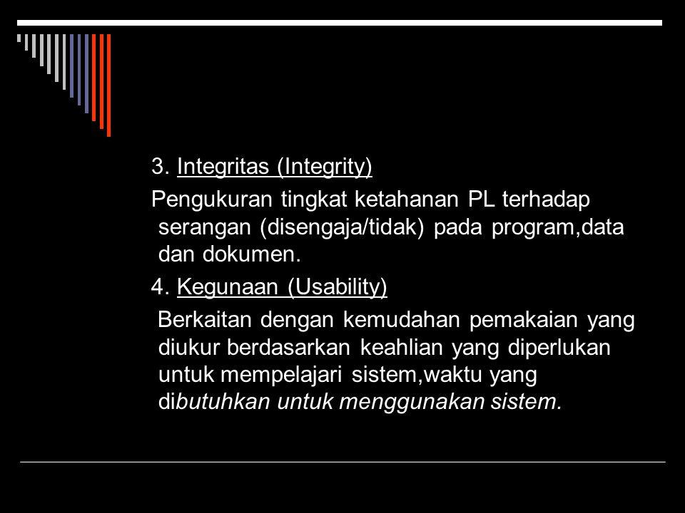 3. Integritas (Integrity) Pengukuran tingkat ketahanan PL terhadap serangan (disengaja/tidak) pada program,data dan dokumen. 4. Kegunaan (Usability) B