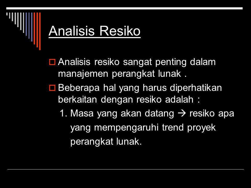 Analisis Resiko AAnalisis resiko sangat penting dalam manajemen perangkat lunak. BBeberapa hal yang harus diperhatikan berkaitan dengan resiko ada