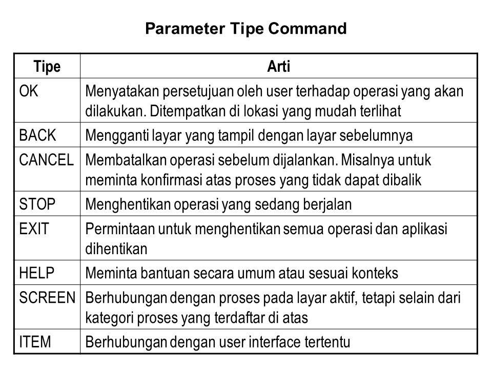 TipeArti OKMenyatakan persetujuan oleh user terhadap operasi yang akan dilakukan.