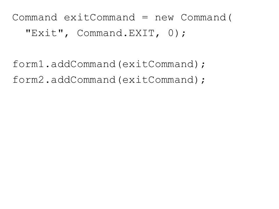 Merespon Aksi User Pada Command Agar dapat menerima notifikasi ketika user menjalankan satu command, maka terlebih dulu menghubungkan sebuah CommandListener dengan objek Displayable dimana command tersebut ditambahkan Cara ini bisa dilakukan lewat metode setCommandListener()