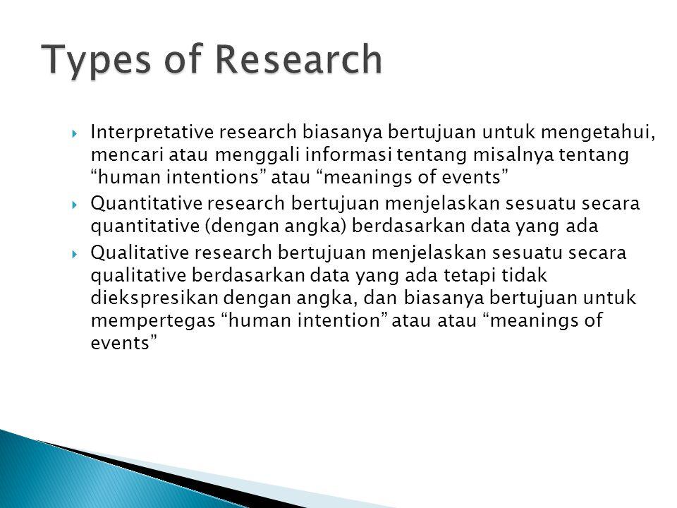 """ Interpretative research biasanya bertujuan untuk mengetahui, mencari atau menggali informasi tentang misalnya tentang """"human intentions"""" atau """"meani"""