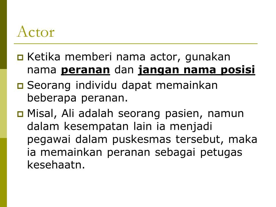 Actor  Ketika memberi nama actor, gunakan nama peranan dan jangan nama posisi  Seorang individu dapat memainkan beberapa peranan.  Misal, Ali adala