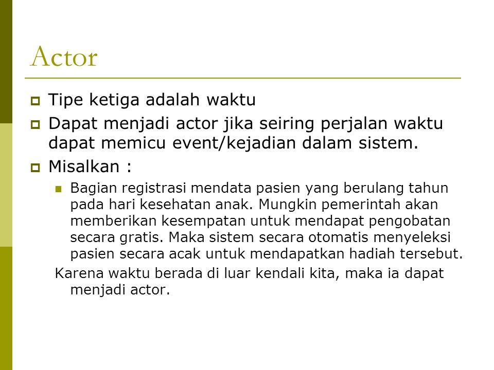 Actor  Tipe ketiga adalah waktu  Dapat menjadi actor jika seiring perjalan waktu dapat memicu event/kejadian dalam sistem.  Misalkan : Bagian regis