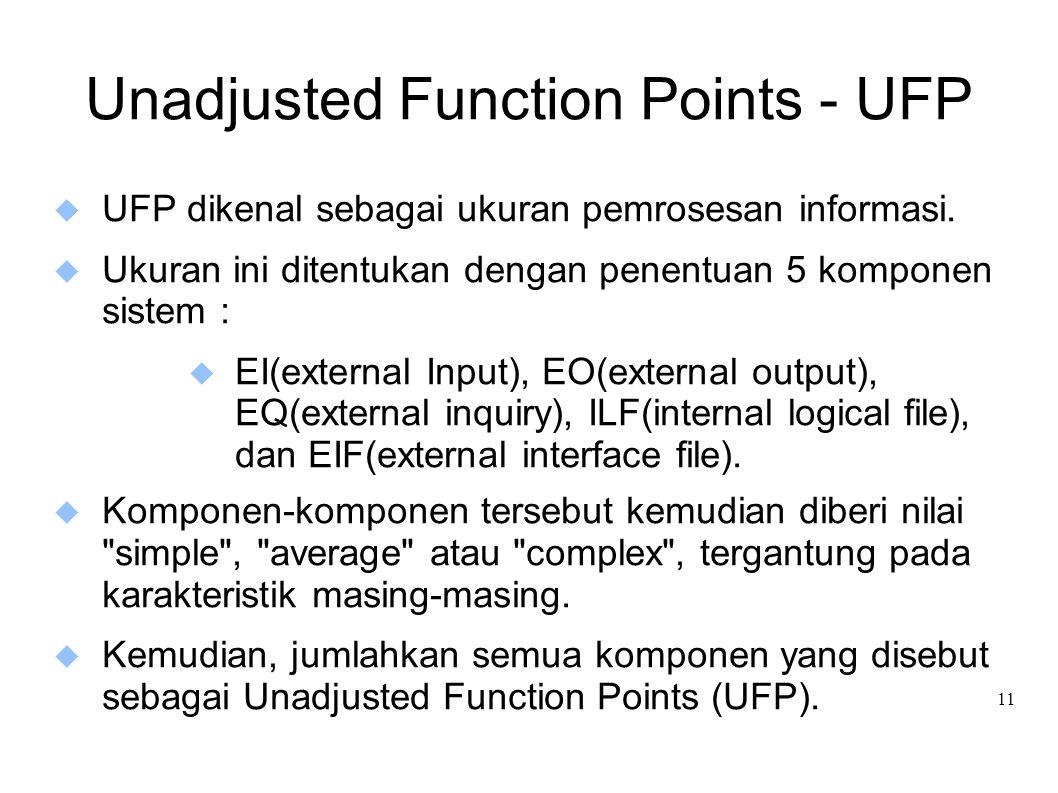 11 Unadjusted Function Points - UFP  UFP dikenal sebagai ukuran pemrosesan informasi.  Ukuran ini ditentukan dengan penentuan 5 komponen sistem : 