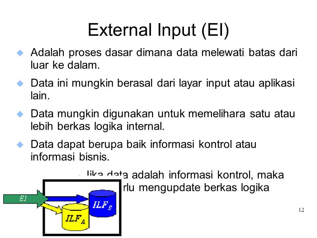 12 External Input (EI)  Adalah proses dasar dimana data melewati batas dari luar ke dalam.  Data ini mungkin berasal dari layar input atau aplikasi
