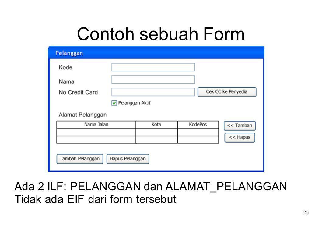 23 Contoh sebuah Form Ada 2 ILF: PELANGGAN dan ALAMAT_PELANGGAN Tidak ada EIF dari form tersebut