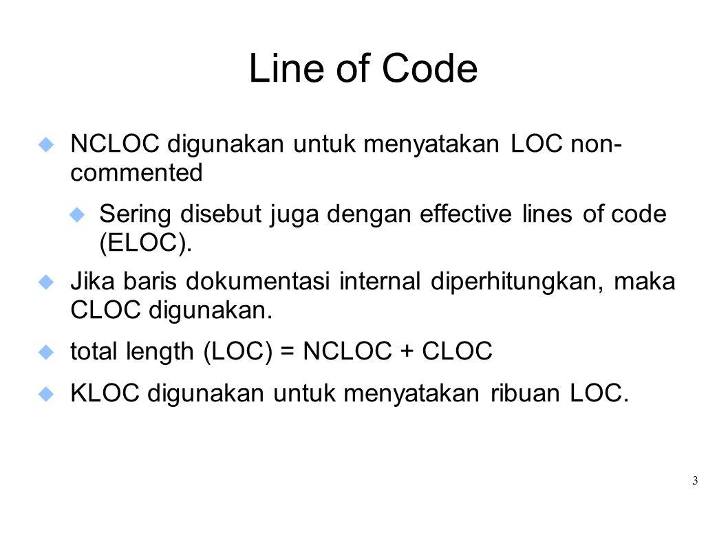3 Line of Code  NCLOC digunakan untuk menyatakan LOC non- commented  Sering disebut juga dengan effective lines of code (ELOC).  Jika baris dokumen