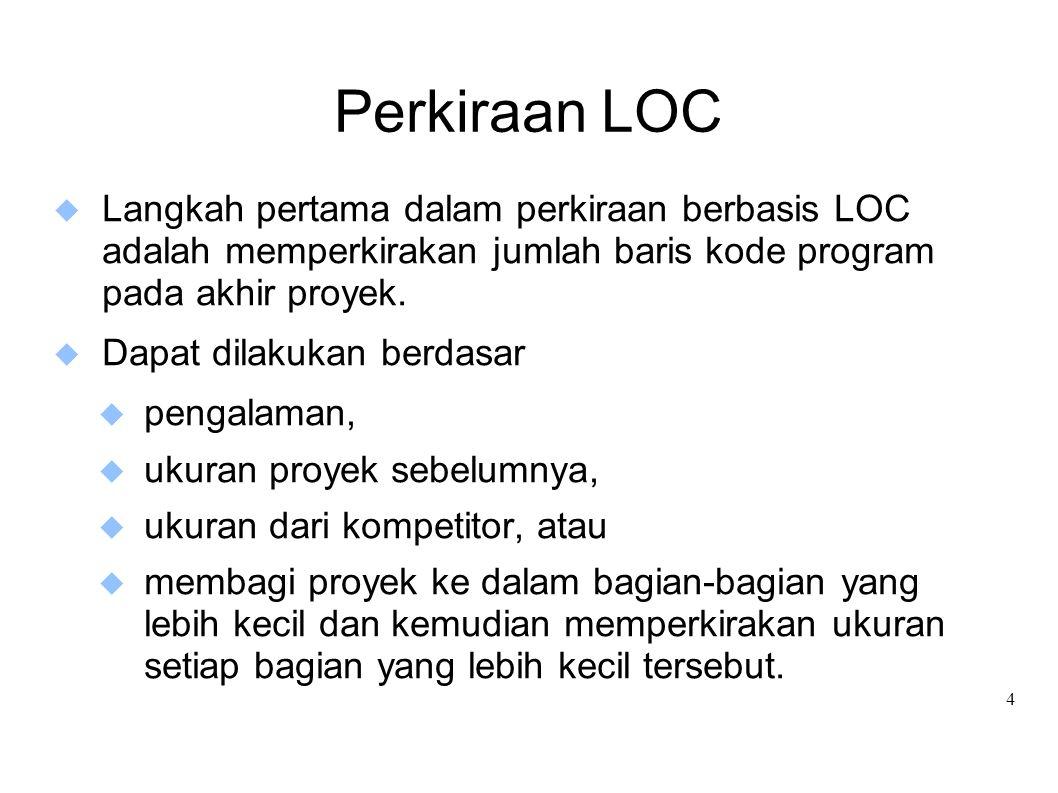 4 Perkiraan LOC  Langkah pertama dalam perkiraan berbasis LOC adalah memperkirakan jumlah baris kode program pada akhir proyek.  Dapat dilakukan ber