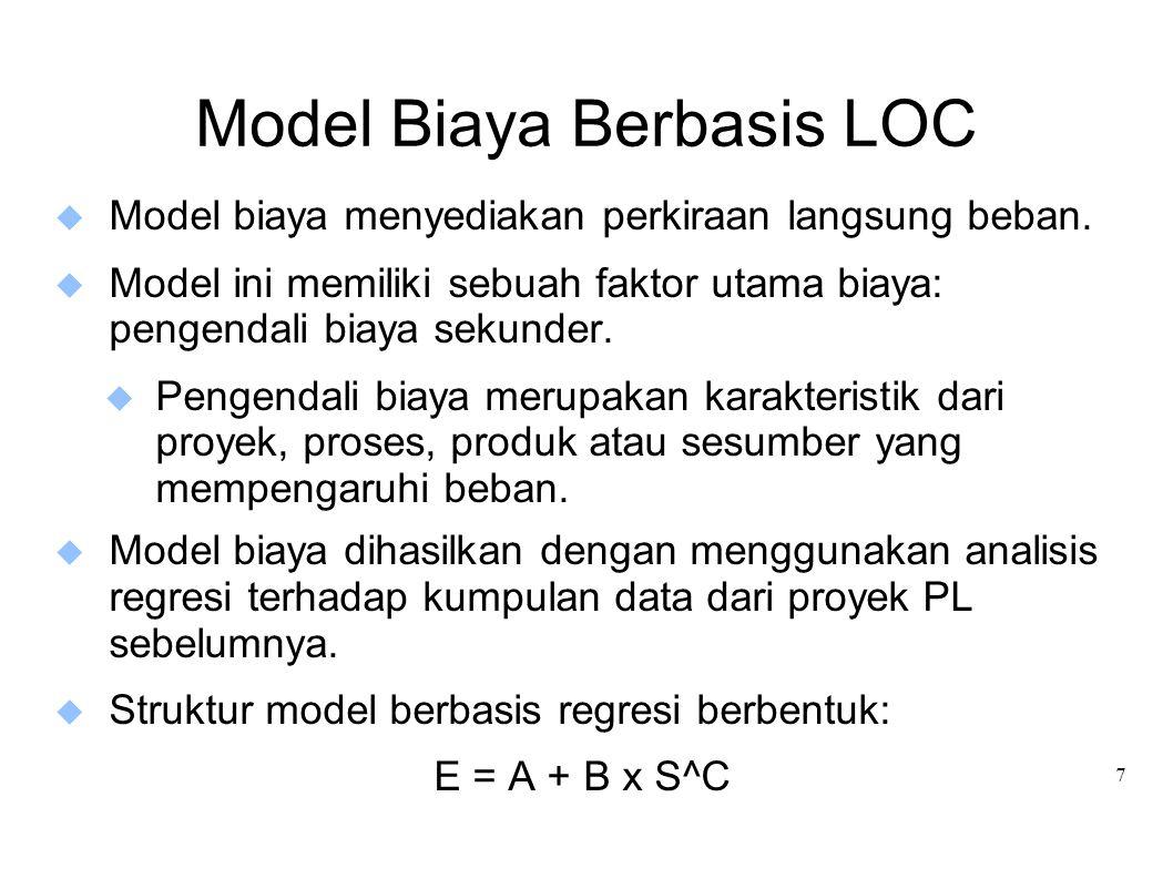 7 Model Biaya Berbasis LOC  Model biaya menyediakan perkiraan langsung beban.  Model ini memiliki sebuah faktor utama biaya: pengendali biaya sekund