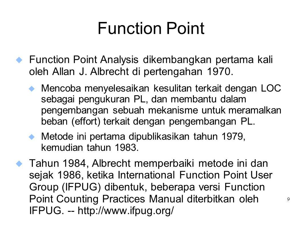 9 Function Point  Function Point Analysis dikembangkan pertama kali oleh Allan J. Albrecht di pertengahan 1970.  Mencoba menyelesaikan kesulitan ter