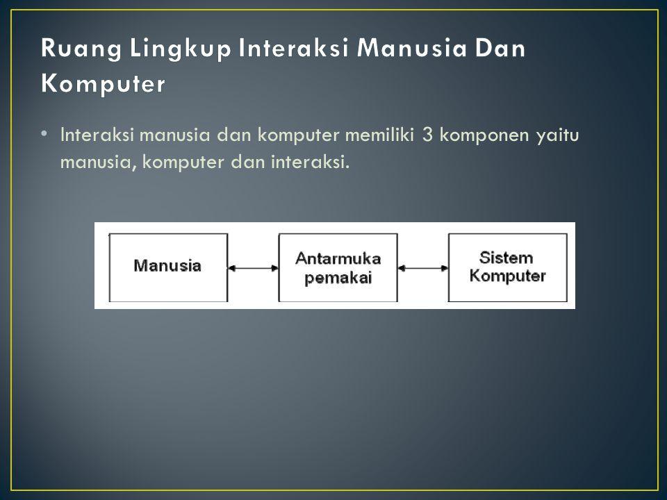 Interaksi manusia dan komputer memiliki 3 komponen yaitu manusia, komputer dan interaksi.