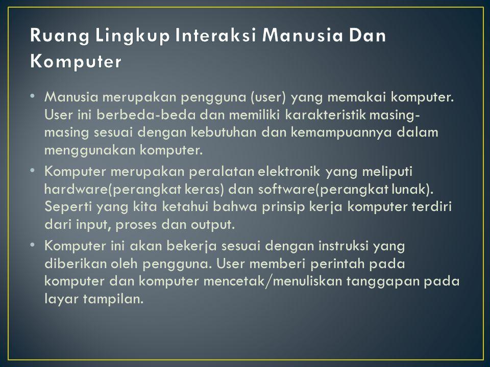 Manusia merupakan pengguna (user) yang memakai komputer. User ini berbeda-beda dan memiliki karakteristik masing- masing sesuai dengan kebutuhan dan k