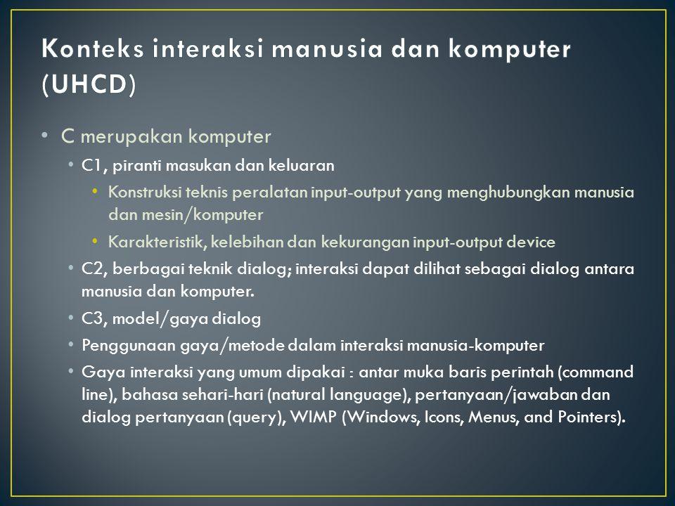 C merupakan komputer C1, piranti masukan dan keluaran Konstruksi teknis peralatan input-output yang menghubungkan manusia dan mesin/komputer Karakteri