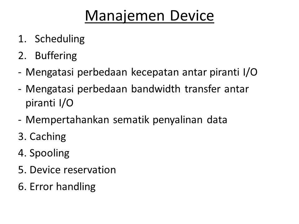 Manajemen Device 1.Scheduling 2.Buffering -Mengatasi perbedaan kecepatan antar piranti I/O -Mengatasi perbedaan bandwidth transfer antar piranti I/O -