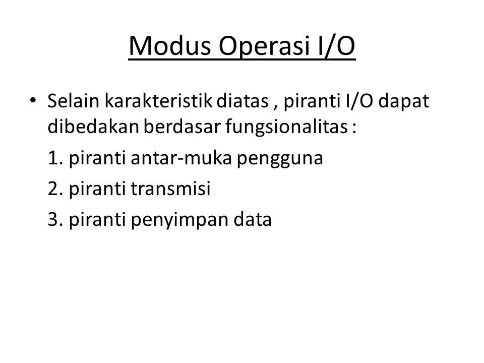 Selain karakteristik diatas, piranti I/O dapat dibedakan berdasar fungsionalitas : 1. piranti antar-muka pengguna 2. piranti transmisi 3. piranti peny