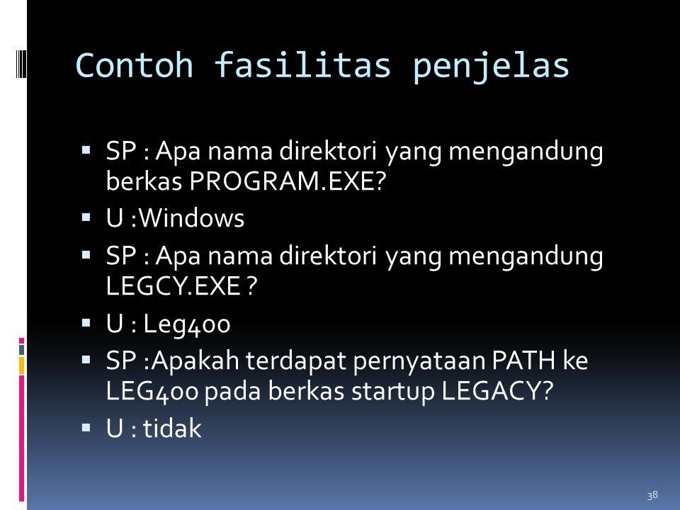 Contoh fasilitas penjelas  SP : Apa nama direktori yang mengandung berkas PROGRAM.EXE.