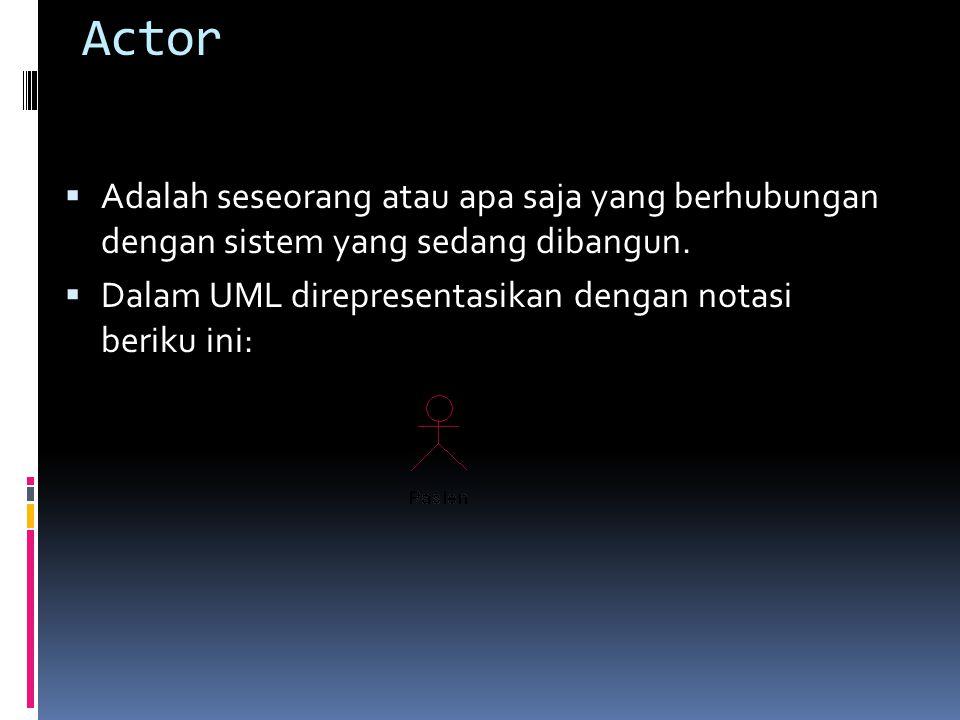 Actor  Adalah seseorang atau apa saja yang berhubungan dengan sistem yang sedang dibangun.