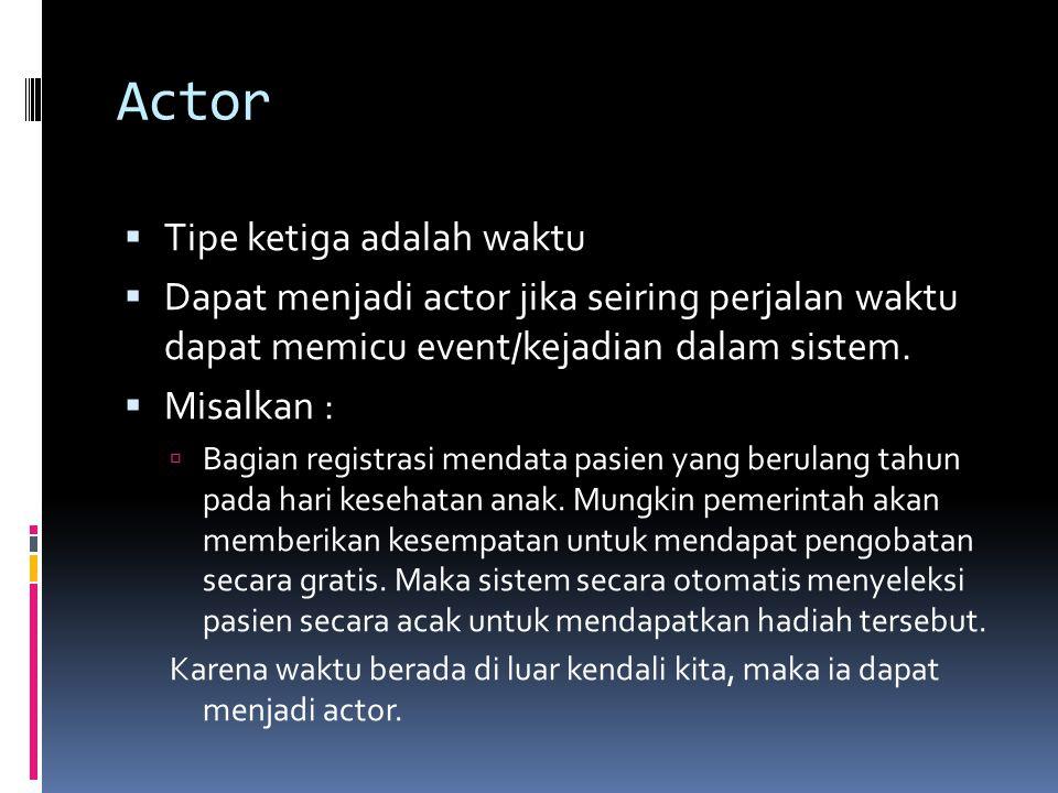 Actor  Tipe ketiga adalah waktu  Dapat menjadi actor jika seiring perjalan waktu dapat memicu event/kejadian dalam sistem.