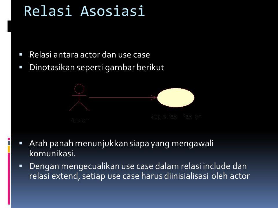 Relasi Asosiasi  Relasi antara actor dan use case  Dinotasikan seperti gambar berikut  Arah panah menunjukkan siapa yang mengawali komunikasi.