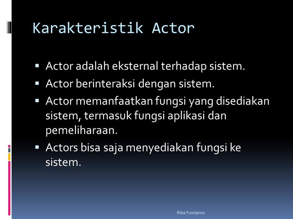 Karakteristik Actor  Actor adalah eksternal terhadap sistem.