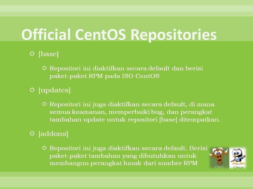  [base]  Repositori ini diaktifkan secara default dan berisi paket-paket RPM pada ISO CentOS  [updates]  Repositori ini juga diaktifkan secara def