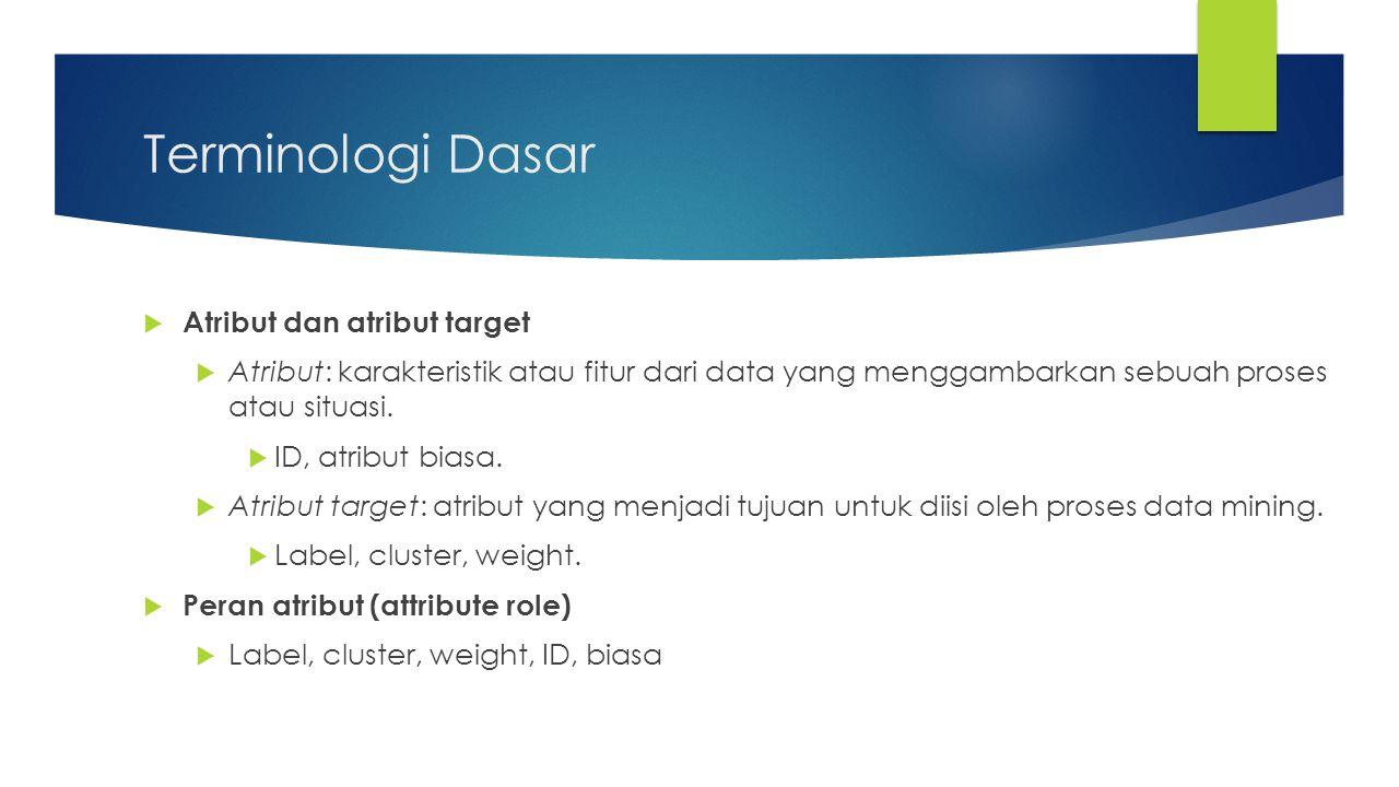 Terminologi Dasar  Atribut dan atribut target  Atribut: karakteristik atau fitur dari data yang menggambarkan sebuah proses atau situasi.  ID, atri