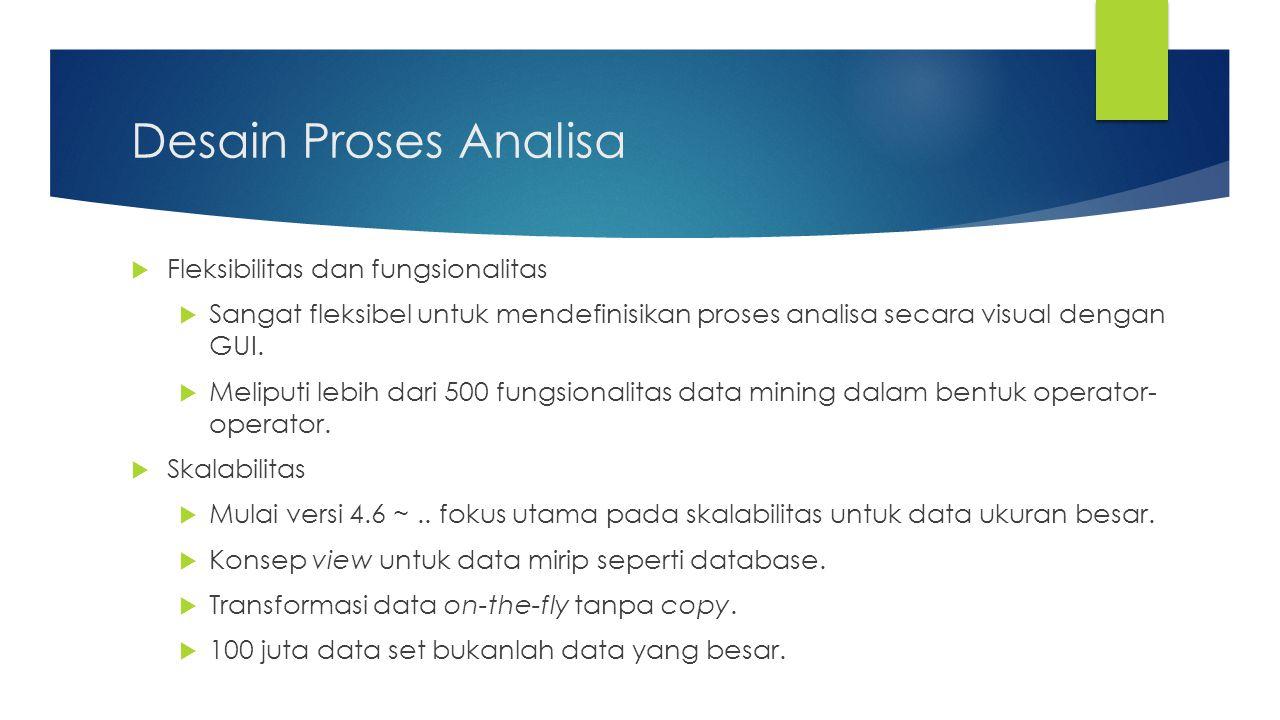 Desain Proses Analisa  Fleksibilitas dan fungsionalitas  Sangat fleksibel untuk mendefinisikan proses analisa secara visual dengan GUI.  Meliputi l