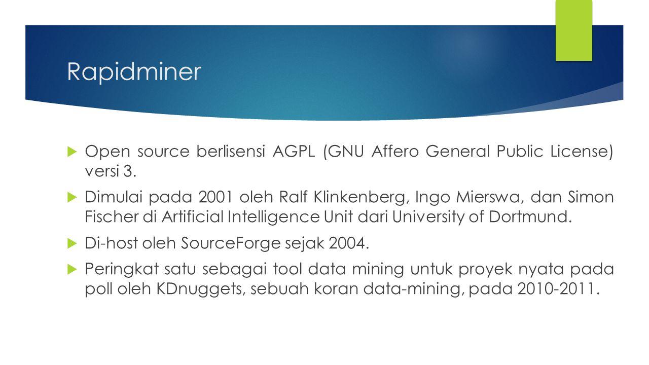Rapidminer  Menyediakan prosedur data mining dan machine learning termasuk: ETL (extraction, transformation, loading), data preprocessing, visualisasi, modelling dan evaluasi.